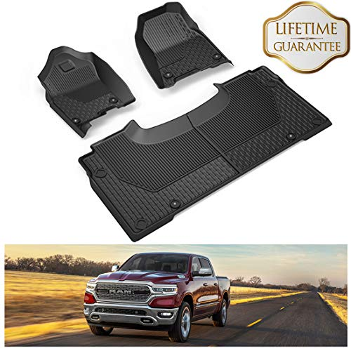 (KIWI MASTER Floor Mats Liners Compatible for 2019 Dodge Ram 1500 Crew Cab All Weather Protector OEM Slush Mat Front & 2nd Row Seat Liner Black)
