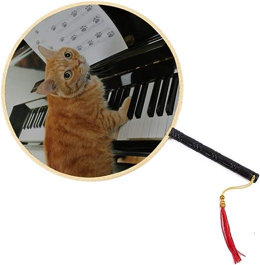 WYYWCY Un Lindo Gato Tocando el Piano Abanico Chino Antiguo Abanico clásico de Paleta Abanico de Baile Abanico Chino Abanico para fanáticos de Mano Abanico de Baile: Amazon.es: Hogar