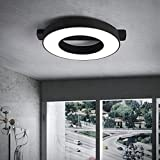 Smart Ceiling Light Fixture Remote Control LED Ceiling Light Master Bedroom Round Nordic Simple Modern Personality Art Ceiling Lighting Living Room Creative Lamps (24 Inches, Black)