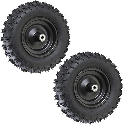 (JCMOTO Pair 4.10-6 Go Kart ATV Tubeless Tire with Rim and 6001ZZ Bearings | Front Tires Rims for Scooter Quad Bikes 4 Wheelers)