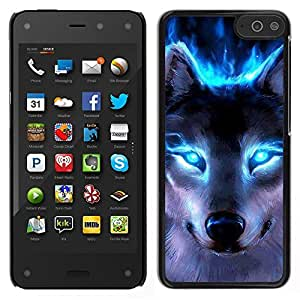 LOVE FOR Amazon Fire Phone Wolf Blue Eyes Neon Bright Light Forest Personalized Design Custom DIY Case Cover