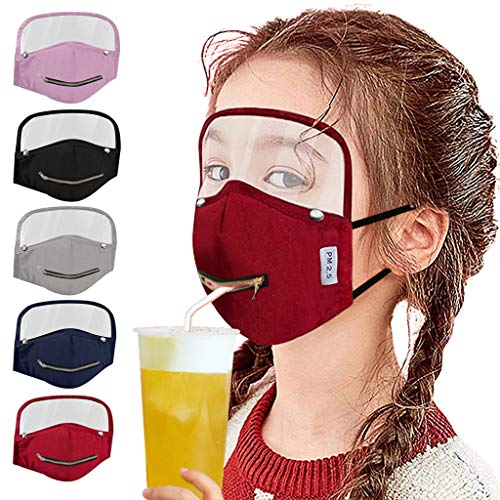 【USA In Stock 】5PCS Child Kids Face Bandana_Covering_MASK Zipper Open Design Face Protection with Transparent Shield for School Kids Outdoor, Boys Girls Adjustable Face Fabric Turban Fashion Washable Reusable Breathable Easy to Drink