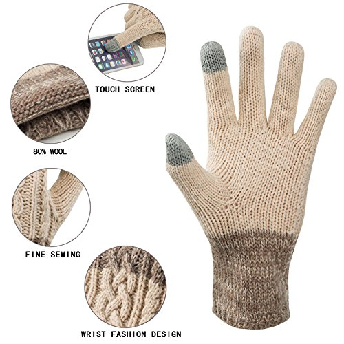 Winter-Warm-Knit-Gloves-for-Women-Wool-Touchscreen-Texting-Thick-Gloves-for-Beanies-Matching-by-REDESS