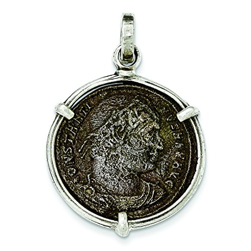 Sterling Silver Antiqued Roman Bronze Constantine I Coin Pendant (Ancient Coins Roman Silver)