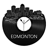 VinylShopUS Edmonton City Skyline Vinyl Wall Clock Cityscape Ideal for Home Decorative Room Decoration