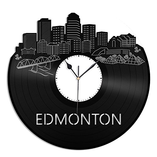 VinylShopUS - Edmonton City Skyline Vinyl Wall Clock Cityscape Ideal for Home Decorative Room Decoration by VinylShopUS