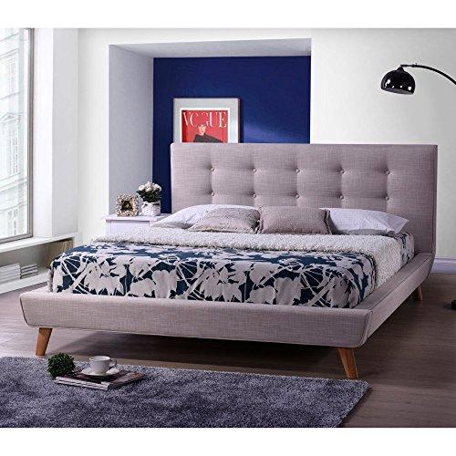 Baxton Studio Jonesy Scandinavian Style Mid Century Linen Fabric Upholstered Platform Bed 51lvcV3gkTL