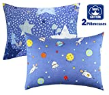 Cartoon Toddler Travel Pillowcase 100% Cotto- Cuddle Collection for Boys Or Girl,for 13x18,12x16 Pillow,Double-Sided Different - Rocketships and Stars,Free Travel Package (Rocketships/Stars)