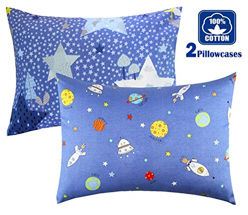 Cartoon Toddler Travel Pillowcase 100% Cotto- Cuddle Collection for Boys Or Girl,for 13x18,12x16 Pillow,Double-Sided Different - Rocketships and Stars,Free Travel Package ()
