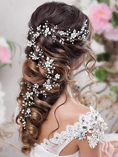 Artio Bride Wedding Hair Vine Accessory Silver Flower Hair Piece Beaded Bridal Headpiece for Women and Girls HV009S
