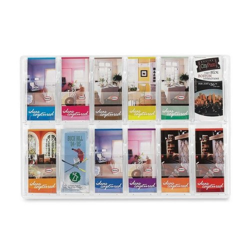 Safco 12 Pamphlet Pocket Display Rack - 20.4quot; Height x 30quot; Width x 2quot; Depth - 12 Pocket(s) - Plastic - Clear (Safco 12 Pamphlet Pocket Display)