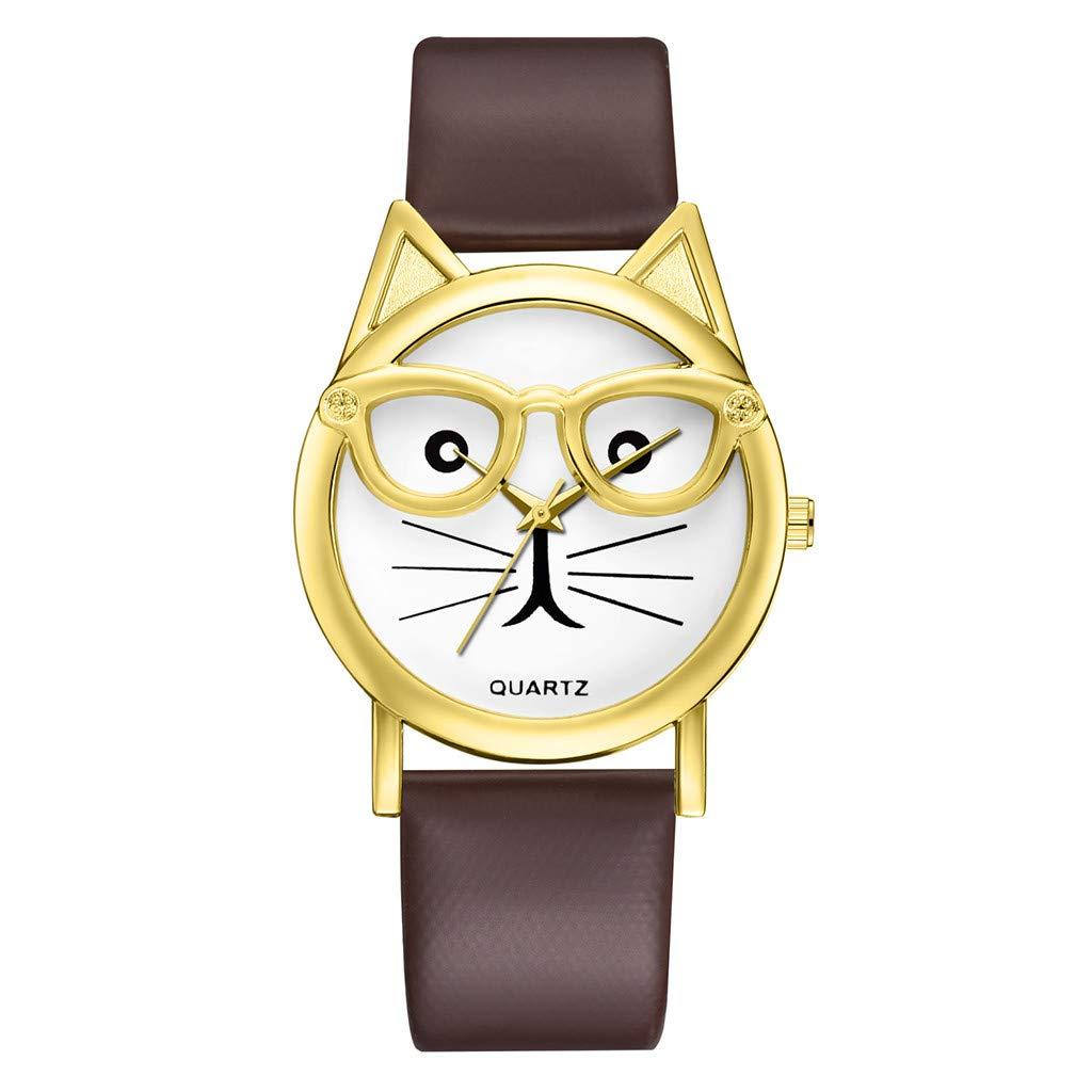 Realde Mujer Aleación Cabeza De Gato Esfera del Reloj Relojes ...