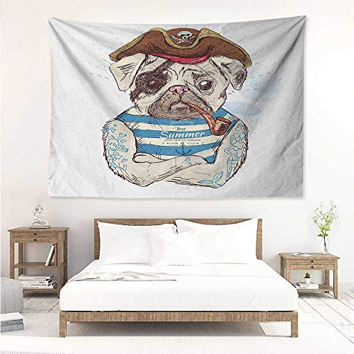 Pug,Trippy Tapestries Pirate Pug Conqueror of The Seas Pipe Skulls and Bones Hat Striped Sleeveless T-Shirt 80W x 60L Inch Art Nature Home Decorations Brown Blue (Nature Tye Dye T-shirt)