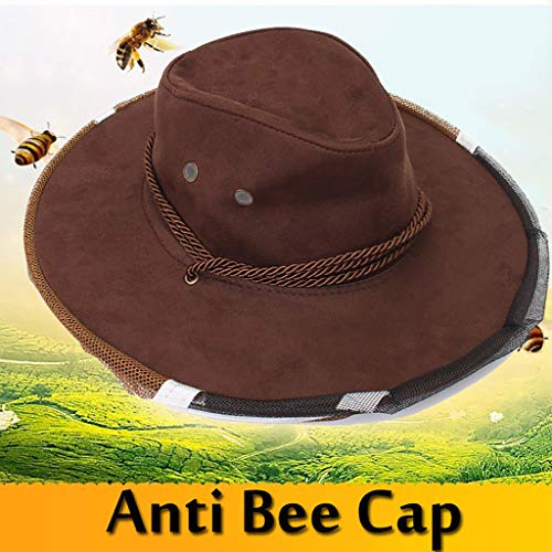 ️ Yu2d ❤️❤️ ️Anti Bee Face Mask Hat Beekeeping Protector Cap Beekeeper Fly Insect Net Cowboy -