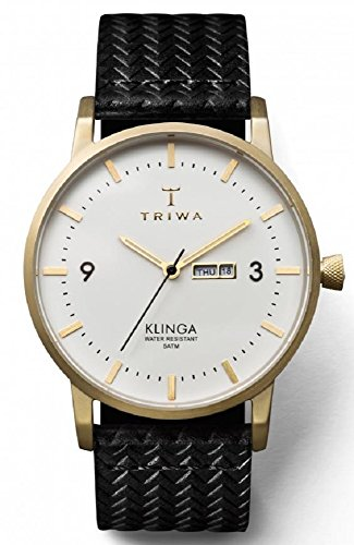Triwa Ivory Klinga Unisex Day and Date Watch Brushed Goldtone Black Leather Strap KLST103 GC010113