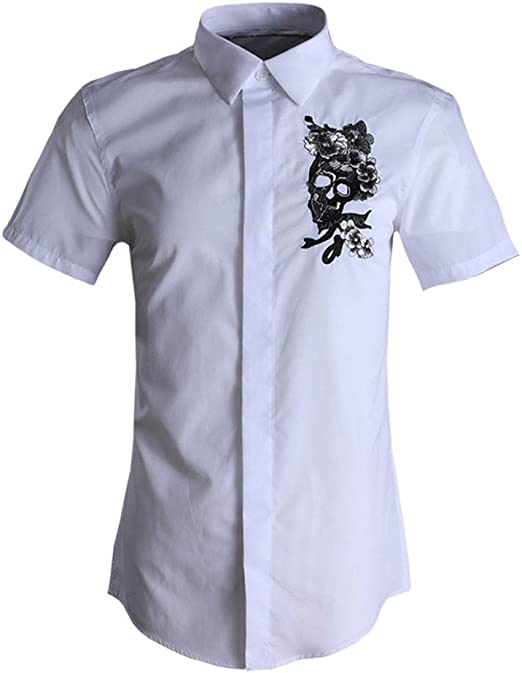 ZDAMN Camisa Ocasional de los Hombres Camisa de Vestir de Manga Corta con Botones para Hombre