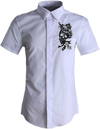Camisas casuales con botones para hombres Camisa casual de manga corta de verano for hombre Camisa de vestir con botones de trabajo de negocios Camisa de algodón estampada floral for niños adolescente: