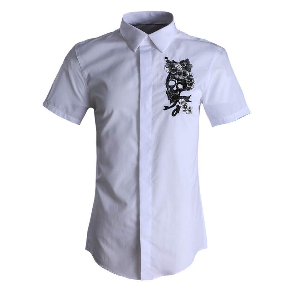 Blanc X-grand Chemises Hommes Décontracté, Chemises décontractées pour hommes d'affaires à hommeches courtes pour hommes Chemise de ville boutonnée à hommeches longues en coton à imprimé floral Chemise formelle en c