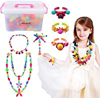 Conleke Pop Snap Beads Set 500Pcs for Kids Toddlers- DIY Bead Toys Made Jewelry Necklaces Bracelets Rings Crafts- Ideal Christmas Birthday Gifts for Girls