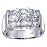 Orchid Jewelry 925 Sterling Silver Aquamarine Cocktail Unisex Ring, (Size 8)