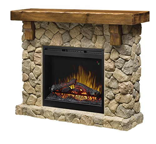 DIMPLEX GDS26L5-904ST Pine and Stone-Look Mantel Fieldstone Electric Fireplace, Stone, Stone