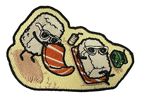 """""""Beach Sushi"""" Funny Food Parody Iron On Patch"""