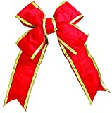 Vickerman 12'' x 17'' Commercial Structural 4-Loop Red and Gold Indoor/Outdoor Christmas Bow Decoration