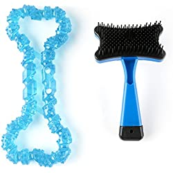 Pet Brush by Everyday Low Prices, Self-Cleaning Deshedding Brush for Cats and Dogs, Easy to Clean Slicker Brush with Free Bone Chew Toy in Assorted Colors