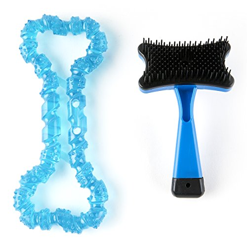 Pet Brush by Everyday Low Prices, Self-Cleaning Deshedding Brush for Cats and Dogs, Easy to Clean Slicker Brush with Free Bone Chew Toy in Assorted - Types Are Of Evolution Different What The