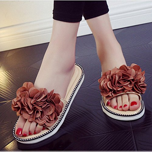 Hunpta Frauen Blumen Sommer Sandalen Flops Hausschuhe Schuhe Hausschuhe Strand flache Schuhe Braun