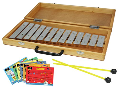 D'Luca TL13B 13 Notes Xylophone Glockenspiel with Wooden Case & Music Cards by D'Luca