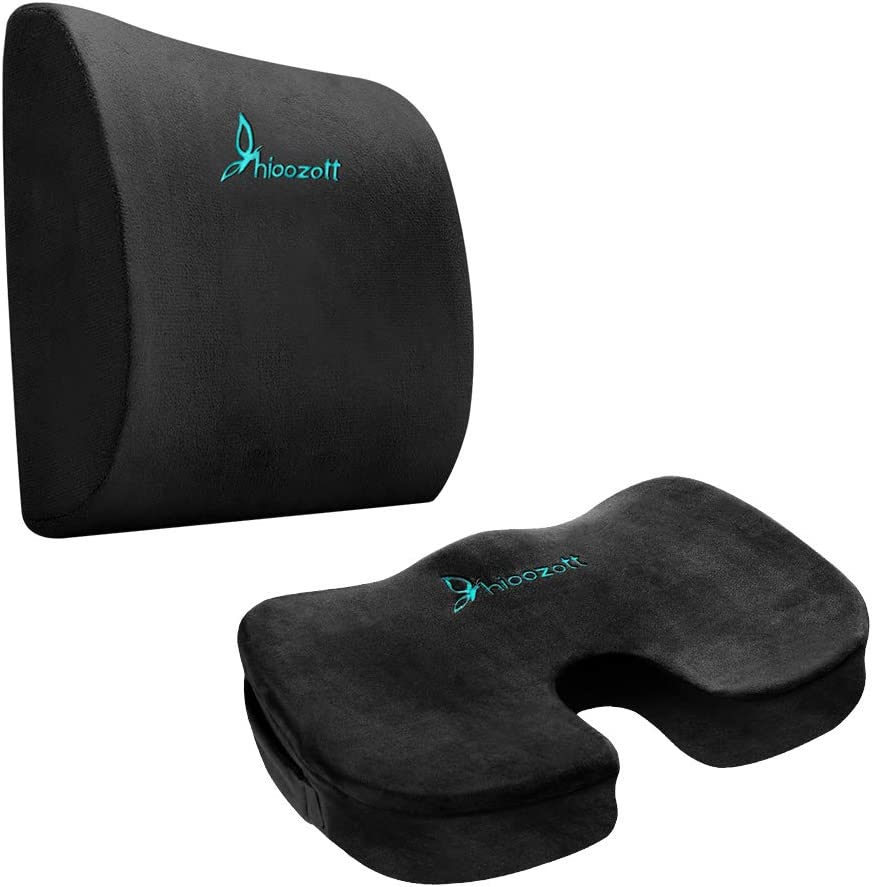 Hioozott Seat Cushion Coccyx Orthopedic Memory Foam and Lumbar Support Pillow for Office Chair and Car Seat - Ultimate Comfort Set Relieves Back Pain, Tail Bone Pain, Sciatica Cushion (Black)