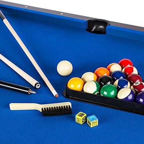 oneConcept Brighton - Mesa de billar (imitación de madera de cerezo, 122 x 82 x 214 cm, juego de accesorios como bolas de repuesto, 16 piezas,2 tacos, retorno de bola), color rojo,