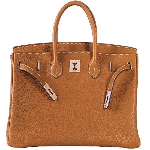 Macton European and American Classic Padlock Genuine Leather Top Handle Handbags Mc-1329 (11.8'', Brown) by Macton