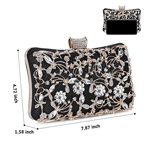 Para Boda Clutches Bolsos Mujer De Diamantes Mano Negro Imitación pHxnWfPq
