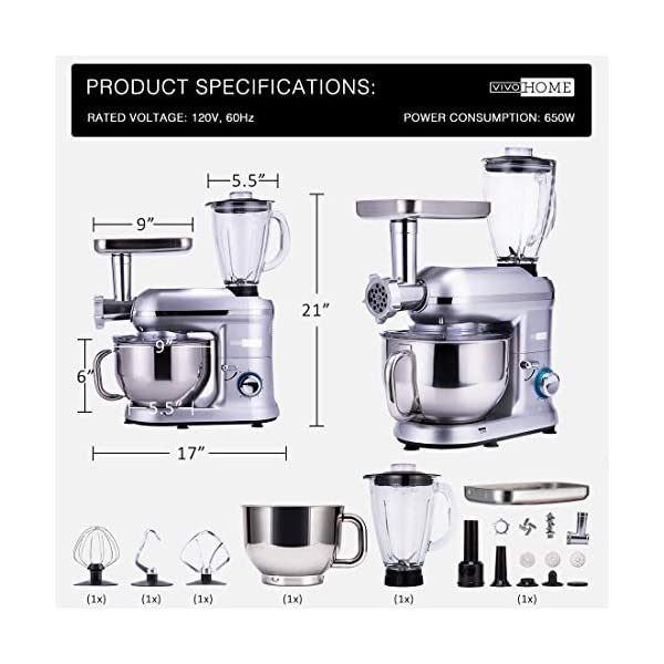 VIVOHOME 3 in 1 Electric 650W Multi-functional 6-Speed Tilt-Head Kitchen Stand Mixer Meat Grinder Juice Blender with 6… 5