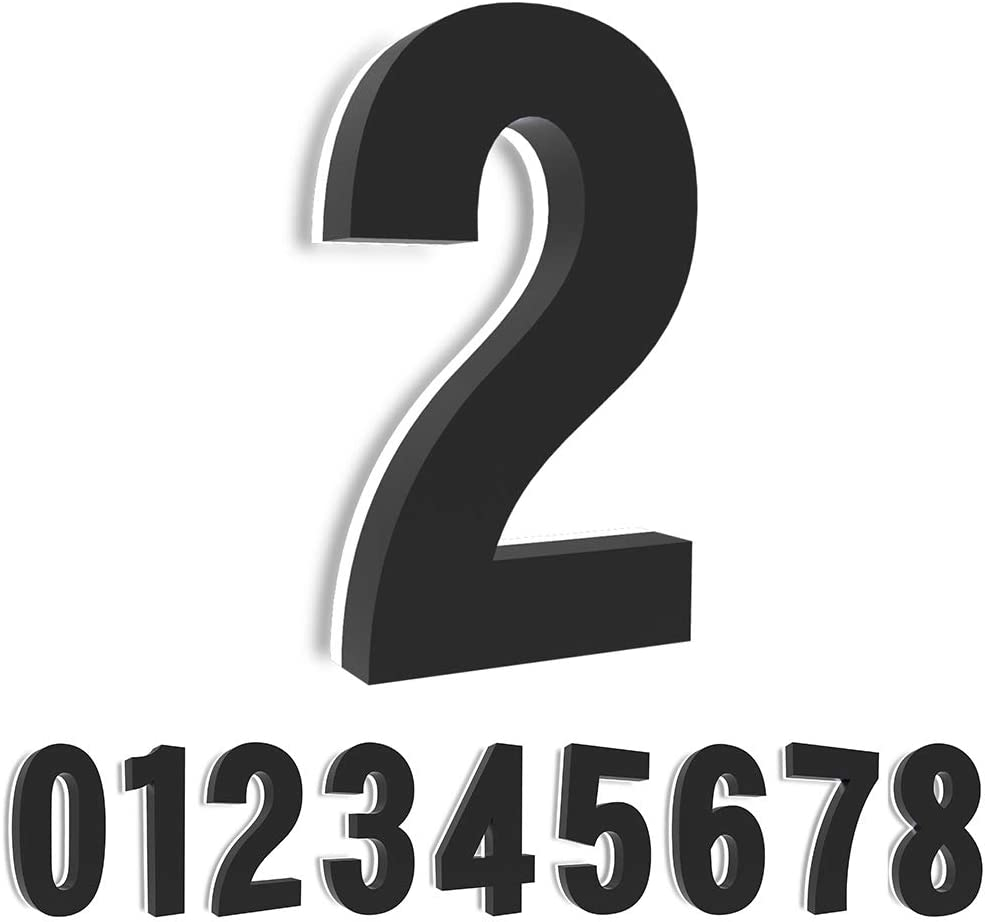Homlux House Numbers, 5'' Backlit Floating LED Illuminated Outdoor Address Sign, Metal Plaque Lighted Up for Home Yard Street--Black ( Number 2)