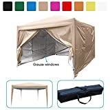 Quictent privacy 10x10 Mesh Curtain EZ Pop Up Party Tent Canopy Gazebo 100% Waterproof-7 Colors (Beige)