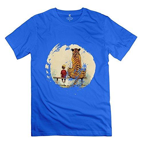 Funny Calvin And Hobbes Thomas Tiger Bench Men's T Shirt RoyalBlue Size S (Thomas The Train Xbox 360 Games)