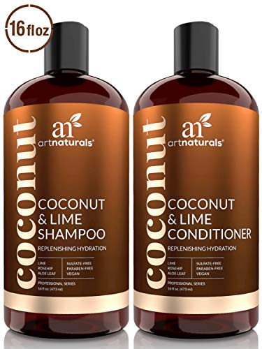 ArtNaturals Coconut-Lime Shampoo and Conditioner Set - (2 x 16 Fl Oz / 473ml) - Replenishing Hydration - Deep Moisturizing For All Hair Types - Coconut, Lime, Aloe Vera and Rosehip