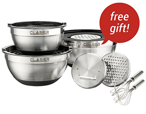 Clasier Mixing Bowls Set 3 Pieces (2, 3, 4.5, QT) With 2 Whisks & 3 Graters | Stainless Steel Bowls WithMeasurements, Sealing Lids & Non Slip Rubber Base| For Cooking, Storage, Camp, Salads, & More