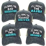 Adult Custom Distressed Trucker Hat RV I'll Bring The Alcohol Bad Decisions Set Men Women Party Baseball Cap (Black/Khaki Hat - Turquoise)