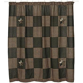Amazon.com: VHC Brands Farmhouse Star Cotton Shower Curtain in Black ...