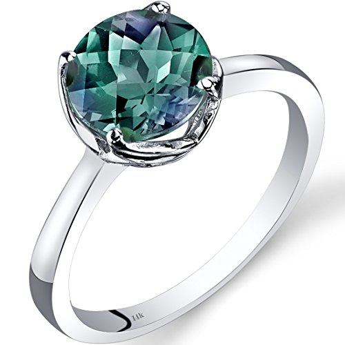 14K White Gold Created Alexandrite Solitaire Ring 2.25 Carat Checkerboard Cut