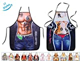Aslana 17 Styles Funny Apron for Couple - 1 Pair (2pcs) Sexy Novelty Chef Craft Apron Kitchen Cooking BBQ Party, 28'' x 22'' (Tattoo Man & Woman)