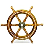 """12"""" Nautical Wood Crafted Premium Pirate's Boat Steering Wall Decor Ship Wheel With Brass Ring Inlaid & Center Hub 