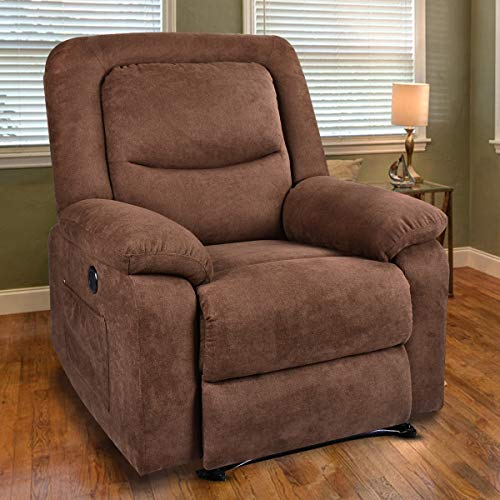 MAGIC UNION Overstuffed Fabric Electric Recliner Chair Heated Vibration Massage Sofa with USB Charge Port Home Theater Seating