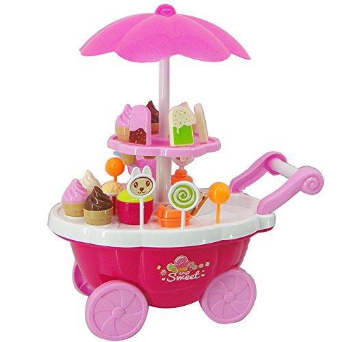 (Elaco 39PC New Kids Toys Simulation Mini Candy Ice Cream Trolley Shop Pretend Play Set (J))