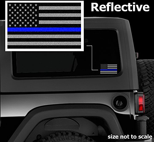 "Subdued Thin Blueline Flag 4.5"" Vinyl Reflective Decal American Flag Sticker Honoring Law Enforcement"