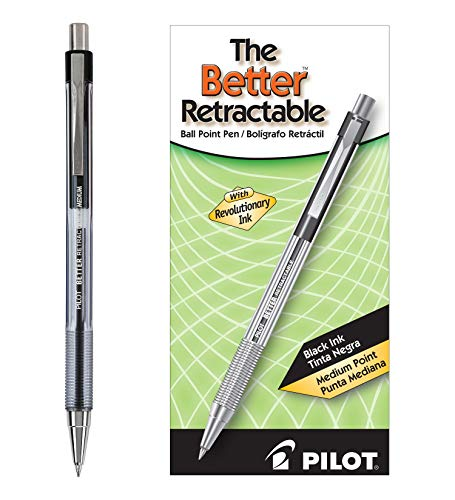 Pilot The Better Retractable Ballpoint Pens, Medium Point, Black Ink, Dozen Box (30005)